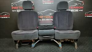 2005 Dodge Ram Pickup 1500 Quad Cab Front 40 20 40 Split Bench Cloth Seats Worn