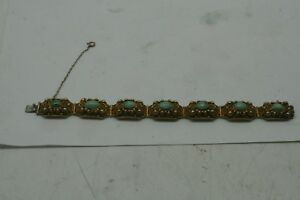 Antique Chinese Filigree Jade Silver Bracelet Gold Washed Excellent Condition