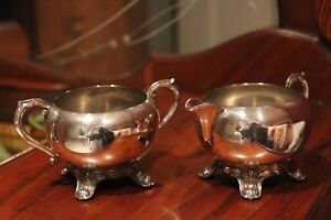 Vintage Fine Silver Plate Ornate Footed Cream Sugar Set Stamped Fb Rogers