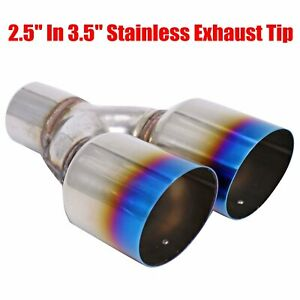 2 5 3 5 Muffler Staggered Dual Exhaust Tip Polished Stainless Steel Blue Burnt