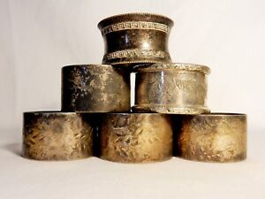 Antique Vintage Bulk Job Lot Of Six 6 Silver Plated Napkin Rings Victorian