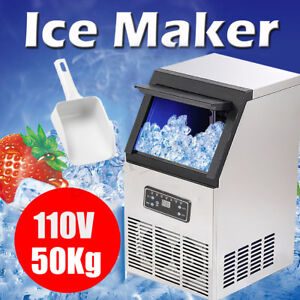 Auto Commercial Ice Cube Maker Machine Stainless Steel Bar 110v 230w Us 110lbs
