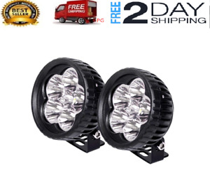 2x 3 Inch Round Led Work Light Bar Spot Lamp Pods Driving Fog Off Road 4wd Truck