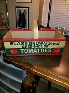 Vintage Old Cardboard Tomato Carrier Basket With Thin Wood Handle
