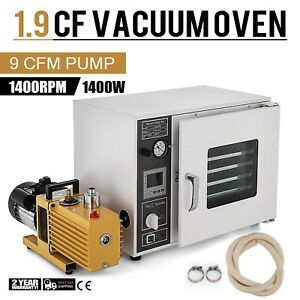 1 9 Cf Vacuum Oven W 9 Cfm 2 stage Vacuum Pump 5 sided St Tubing Oil Fill Gauge