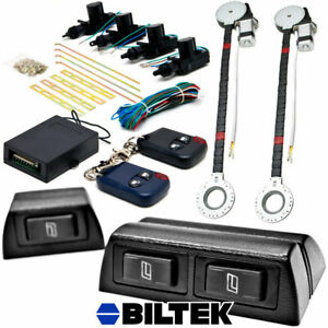 Electric 2 Power Motor Window Roll Up 4 Door Lock Conversion Kit For Car Truck