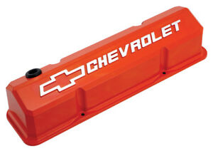 Proform 141 924 Slant Edge Valve Covers Small Block Chevy Orange Cast Aluminum