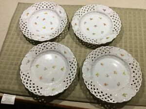 Lot Of 4 Dresden Germany Rk Dessert Pie Plates Reticulated Marked Meissen 13