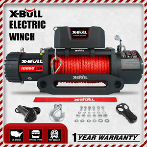 X Bull 12000lbs Electric Winch 12v Recovery Steel Cable Towing Truck Trailer 4wd