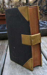 Antique C1865 Old New Testament Holy Bible Brass Clasp Corner Covers 3 Maps