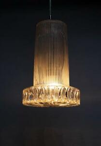 Vintage Textured Glass Pendant Lamp Germany 1950s