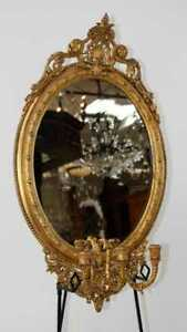 Italian Gilt Wood Girandole Oval Mirror With 3 Arm Candle Sconce