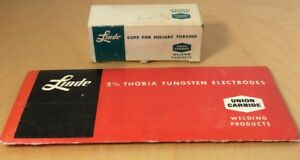 Linde 2 Thoria Tungsten Electrodes Cups For Heliarc Torches Nos