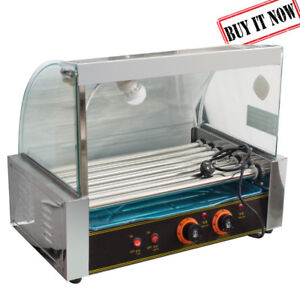 110v Roller Machine 7 Hot Dog Roller Grill Machine With Cover 1050w Reliable