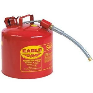 Eagle U2 51 s Red Galvanized Steel Type Ii Gas Safety Can With 7 8 Flex Spou
