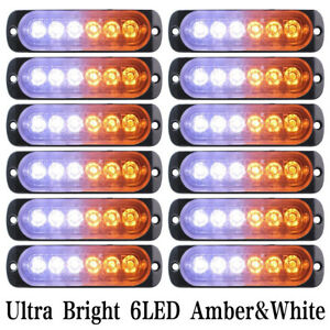 12pcs Strobe 6 Led Light White Amber Emergency Hazard Flashing Warning Tow Truck
