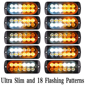10x Emergency 12 Led Amber White Strobe Light Tow Truck Flashing Warning 12v 24v