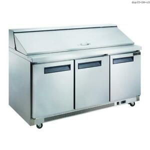 Toolots 17 5 Cu Ft 3 door Commercial Food Prep Table Refrigerator In Stainless