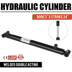 Hydraulic Cylinder Welded Double Acting 3 Bore 24 Stroke Cross Tube New