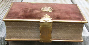 Antique C1880 Bible Brown Felt Cover W Brass Clasp Edging Scrolled Gilding