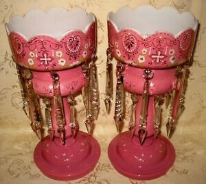 Outstanding Victorian Pair Of Rose Pink Opaline Glass Lusters 14 25 In Tall