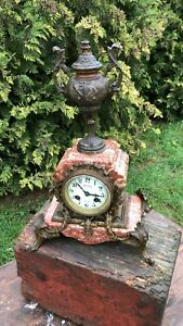 Vintage Art Deco French Philippe Mantle Clock With Spelter Bronze Decoration