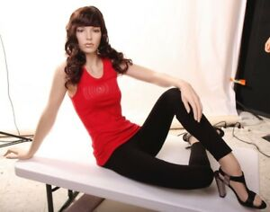 Sitting Female Fiberglass Mannequin Beautiful Realistic Face Elegant Pose