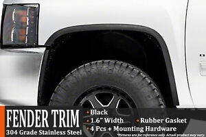2007 2013 Gmc Sierra 1500 Without Factory Flares Black Fender Wheel Molding