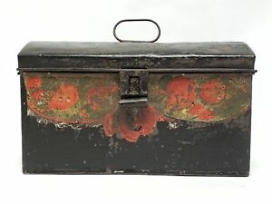 Antique Tin Tole Document Keepsake Box With Original Early Paint
