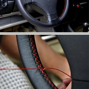 Black Diy Leather Car Steering Wheel Cover With Needles And Red Thread 38cm
