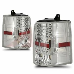 Fit 1997 98 Jeep Grand Cherokee Clear Lens Chrome Led Tail Lights Rear Lamps