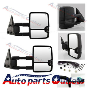 Fit 03 06 Chevy Silverado Chrome Towing Mirrors Power Heated Led Signals Pair