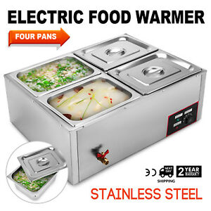 4 pan Food Warmer Steam Table Steamer Cafeterias Easy To Clean 4 Sections 850 W