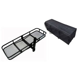 60 Hitch Mounted Cargo Carrier Luggage Basket With Waterproof Bag 500 Lbs