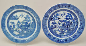 Two 19th Century Antique Blue Willow Transferware Plates