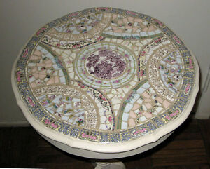 Vintage Mosaic Bone China W Shabby Painted Lamp Side Table By Artist