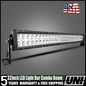 32 Inch Curved Led Lights Bar Combo Polaris Rzr Offroad Jeep Rhino Sandrail Boat