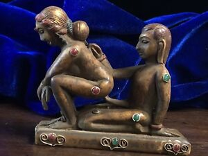 Tibetan Buddhist Yak Bone Hand Carved Inlaid Gemstone Happy Buddha Statue A