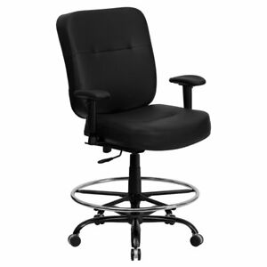 Flash Furniture Hercules Series Big Tall Leather Drafting Chair With Extra