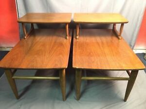 Danish Style Mid Century Modern Top Step Up End Tables Vintage Mersman 8091 Usa