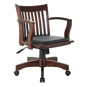 Office Star Deluxe Wood Bankers Desk Chair With Black Vinyl Padded Seat