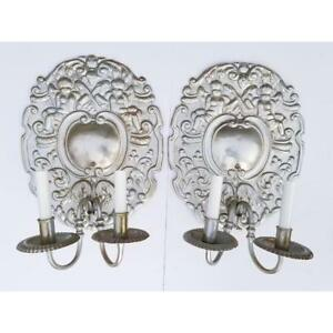 Antique French Baroque Louis Xv Style Aluminum Silver Putty Large Sconces Pair