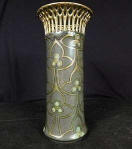 Porcelain Lattice Vase C1900 Bavarian Schonwald Psaa Art Nouveau Gold Green