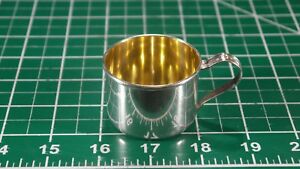 Lunt Vintage Sterling Silver 645 Baby Cup W Gold Wash Toys On Handle Engravable