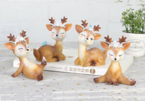 4pcs Fairy Flower Deer Car Interior Decoration Dashboard Ornament Car Home Decor