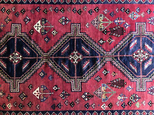6x9 Antique Persian Rug Red Caucasian Hand Knotted Wool Foundation Area Rugs 5x8