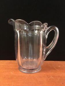 Eapg Antique Glass Water Pitcher Puritan W Scalloped Rim