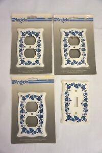 Vintage Plastic Outlets Light Switch Cover Blues 3 Outlets Nip 1 Switch