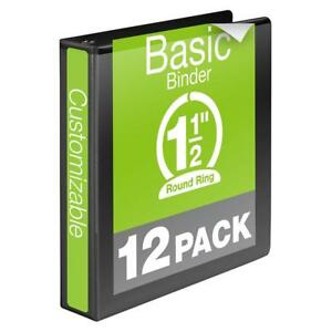 Wilson Jones 1 1 2 Inch 3 Ring Binder Basic Round View Black 12 Pack