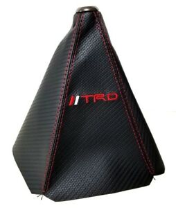 Trd Shift Knob Shifter Boot Cover Mt At Carbon Fiber Look Red Stitches Toyota
